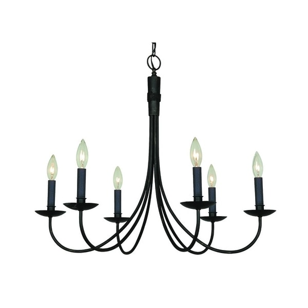 "Artcraft Lighting AC1786 Wrought Iron 6-Light 25"" Wide Chandelier"