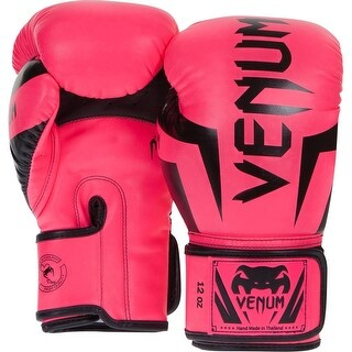 Venum Elite Skintex Leather Hook and Loop Training Boxing Gloves - Neon Pink