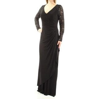 ALEX EVENINGS $219 Womens New 1035 Black Beaded Long Sleeve V Neck Dress 8 B+B
