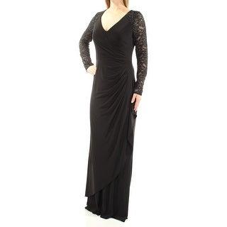 ALEX EVENINGS $219 Womens New 1278 Black Beaded Long Sleeve V Neck Dress 8 B+B