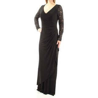 ALEX EVENINGS $219 Womens New 1343 Black Beaded V Neck Long Sleeve Dress 8 B+B
