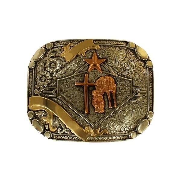 Crumrine Western Belt Buckle Cowboy Prayer Silver 2 7/8 x 3 5/8 - 2 7/8 x 3 5/8