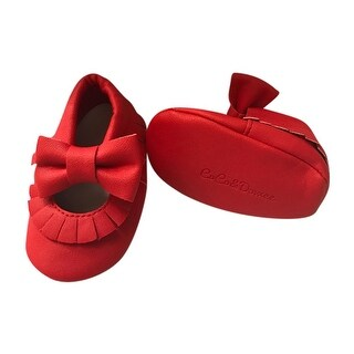 Baby Girls Red Soft Sole Mary Jane Bow Faux Leather Crib Shoes 3-18M