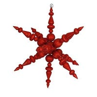 30 in. Red Commercial Shatterproof Radical 3-D Snowflake Christmas