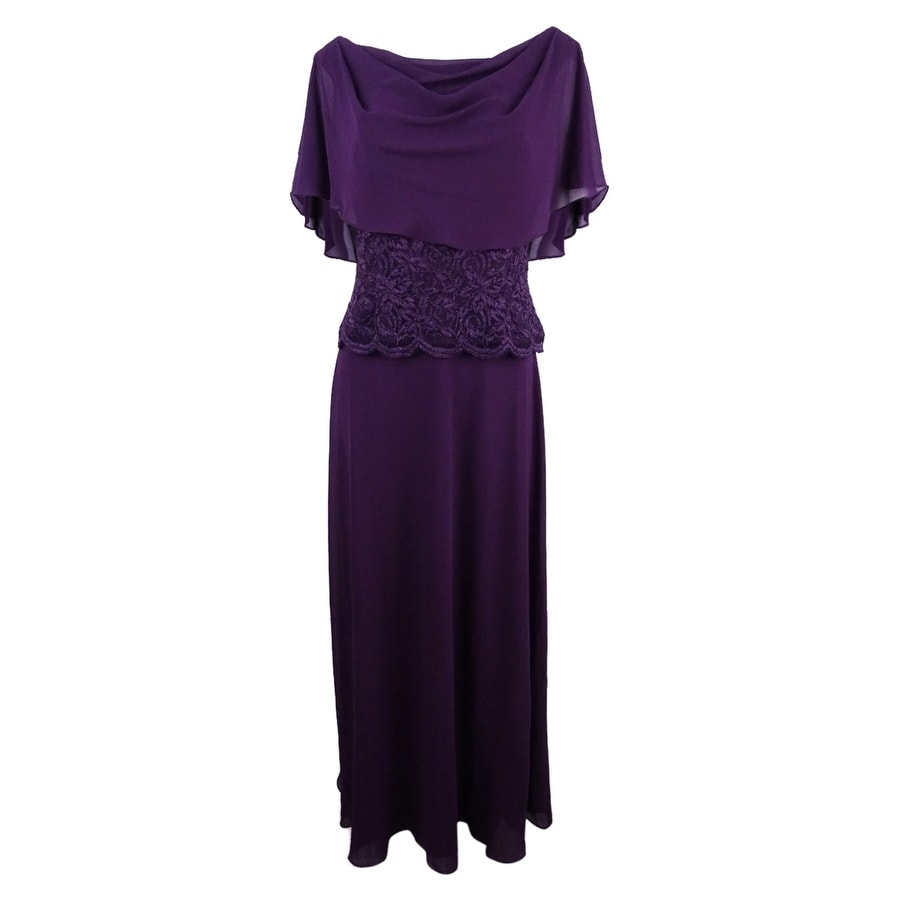 Jessica Howard Womens Cape A-Line Gown - Aubergine