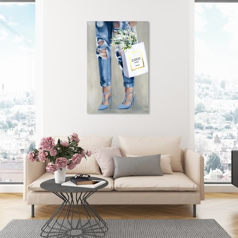 Oliver Gal 'Denim Dream' Fashion and Glam Wall Art Canvas Print Outfits - Blue, Gray