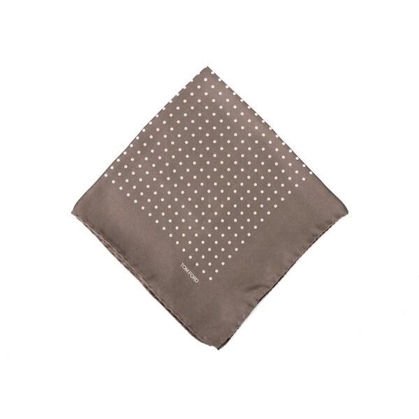 Tom Ford Brown Polka Dot Silk Pocket Square