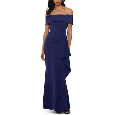 Xscape Womens Formal Dress Ruffled Wrap - Indigo