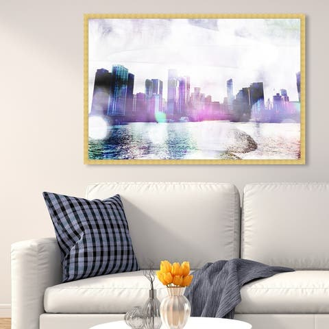 Oliver Gal 'Chicago Water' Cities and Skylines Wall Art Framed Print United States Cities - Purple, Black