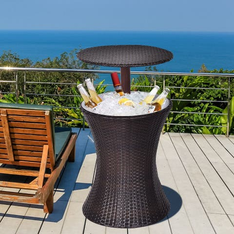 Costway 1PC Adjustable Outdoor Patio Rattan Ice Cooler Cool Bar Table
