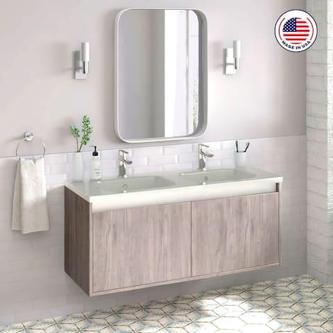 """48"""" Modern Bathroom Vanity Cabinet Village Set RHD Weathered Oak Wood W 48 X H 20 X D 18 in cabinet + double sink"""