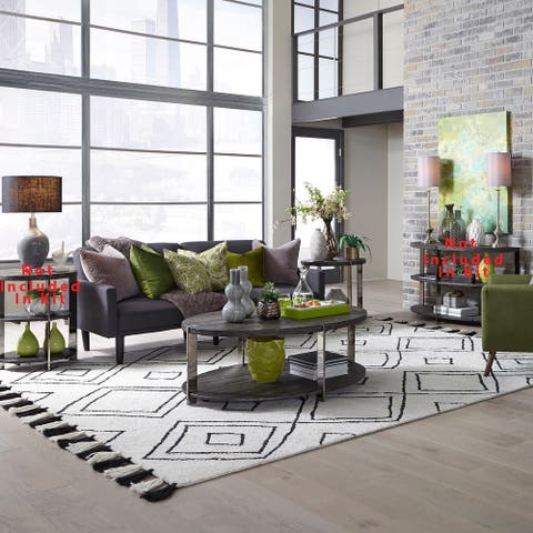 Paxton Charcoal with Chrome Plated Metal 3-piece Table Set