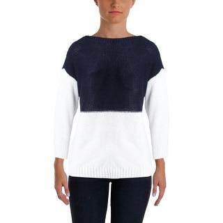 Ralph Lauren Womens Pullover Sweater Colorblocked Boatneck