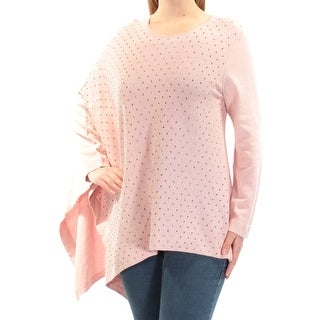 ANNE KLEIN $119 Womens New 1107 Pink Beaded Long Sleeve Hi-Lo Sweater M B+B