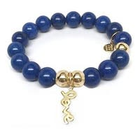 Julieta Jewelry Love Charm Blue Jade Bracelet