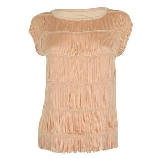 INC International Concepts Women's Fringed Top - pale blush