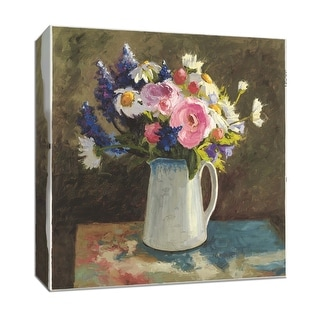 """PTM Images 9-153307  PTM Canvas Collection 12"""" x 12"""" - """"Bouquet in Spanish Jug II"""" Giclee Flowers Art Print on Canvas"""
