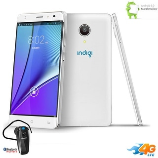 """Indigi 5"""" Android 6.0 2Sim 4G LTE SmartPhone AT&T StraightTalk + BH320 included - White"""