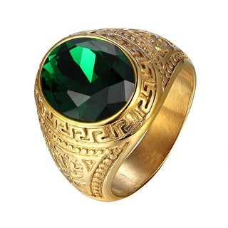 Men Oval Cut Green Dome Stone Stainless Steel Ring Greek Medusa Design Gold Tone