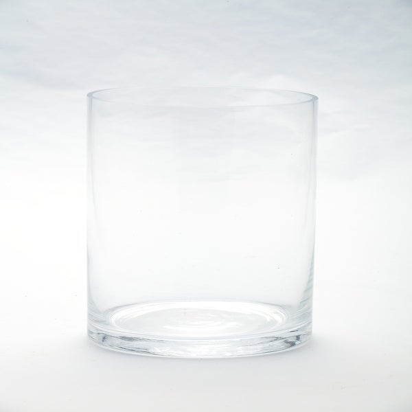 "8"" Clear Cylindrical Handblown Glass Vase - N/A"