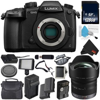 Panasonic Lumix DC-GH5 Mirrorless Micro Four Thirds Digital Camera (Body Only) + Panasonic Lumix G Vario 7-14mm Lens Bundle