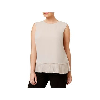 Calvin Klein Womens Blouse Pleated Layered