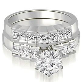 2.10 cttw. 14K White Gold Princess and Round Cut Diamond Bridal Set