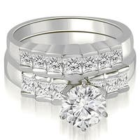 2.35 cttw. 14K White Gold Princess and Round Cut Diamond Bridal Set