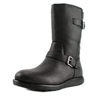 Cole Haan Moto Grand Boot WP Round Toe Patent Leather Boot