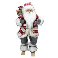 "18"" Alpine Chic Red and Gray Snowflake Skiing Santa with Gift Bag Decorative Christmas Figure"
