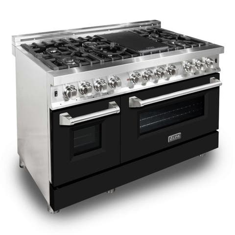 "ZLINE 48"" Professional Dual Fuel Range with Black Matte Door"