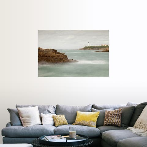 """""""Biarritz Lighthouse with rocks and sea."""" Poster Print"""