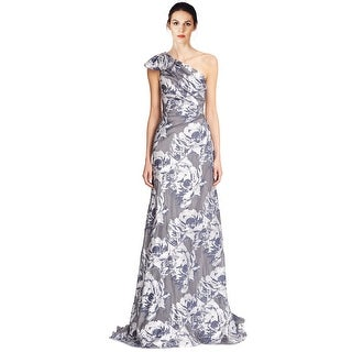 Pamella by Pamella Roland Floral Fil Coupe Ruched One Shoulder Evening Gown Dress - 2