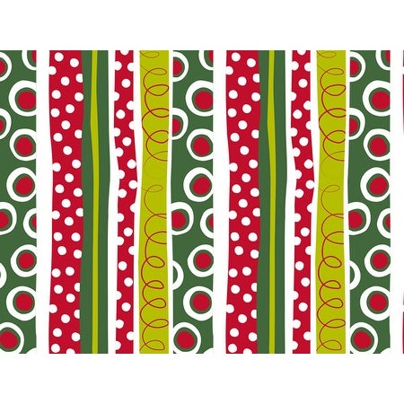 """Pack Of 1, Jolly Christmas Stripe 24"""" x 85' Roll Christmas Premium Gift Wrap Papers For 40-50 Gifts"""