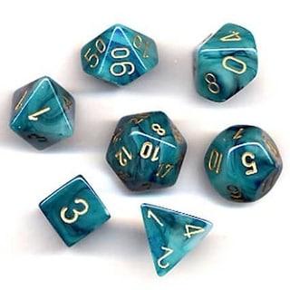 Phantom Teal With Gold Polyhedral 7 Die Set