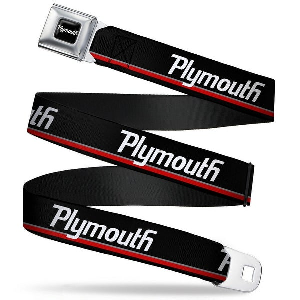Plymouth Text Logo Full Color Black White Plymouth Text Stripe Black White Seatbelt Belt