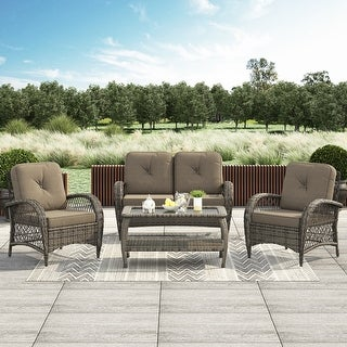 Link to Corvus Padova 4-piece Wicker Patio Chat Set Similar Items in Patio Sets