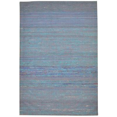 One of a Kind Flatweave Modern 5' x 8' Solid Wool Blue Rug - 5' x 7'