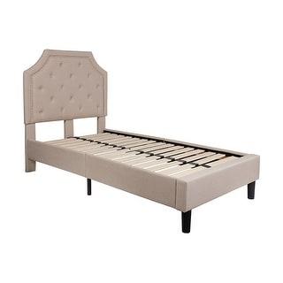 Offex Brighton Twin Size Tufted Upholstered Platform Bed in Beige Fabric