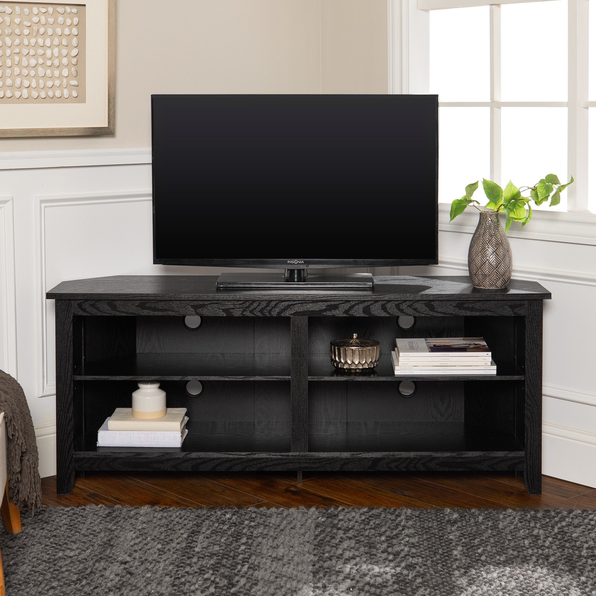 Shop Ogden 58 Inch Black Corner Tv Stand Console With Open Shelving Overstock 10309751