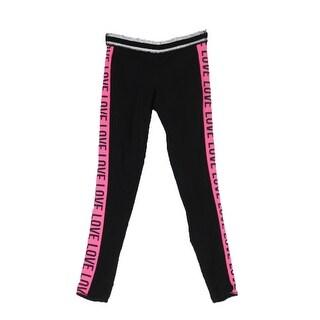 Material Girl Rich Black Pink Holiday Leggings XXS