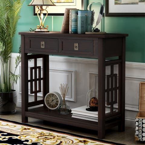 Merax Entryway Accent Console Table with 2 Drawers and Bottom Shelf