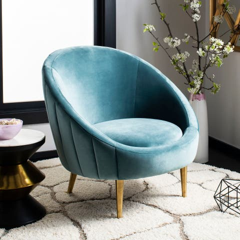 "Safavieh Couture Razia Channel Tufted Tub Chair- Seafoam / Gold - 32.1""x30.3""x31.5"""