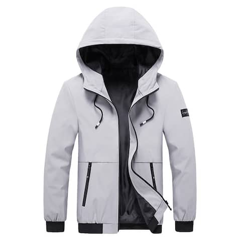 Mens Casual Hooded Jacket New Style Zipper Solid Stand Collar Jackets Fit Long Sleeve Blazer Regular Thickness Spring &