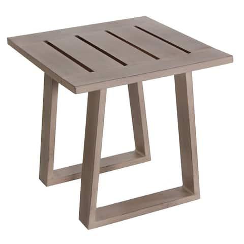 Aruba Outdoor End Table Patio Furniture Durable Aluminum Grey Finish