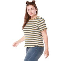 Women Plus Size Short Sleeves Ruffled Striped T-shirt - Yellow