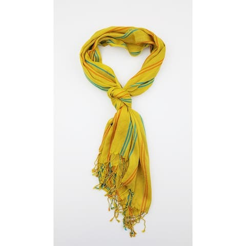 Women Multi Color Lightweight Stripes Oblong Scarf With Tassels Fall Winter School Warm College Fashion Scarves