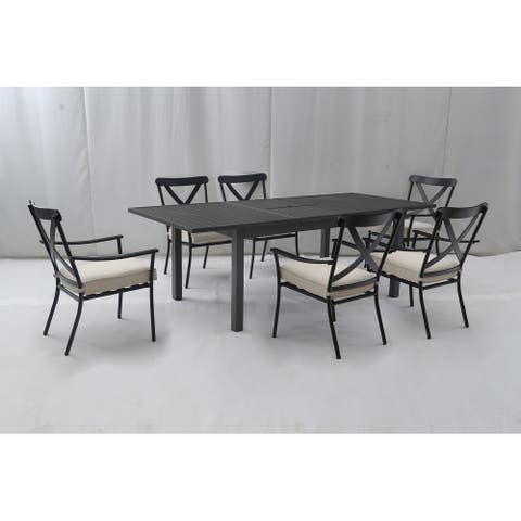 Wellington 7pc Aluminum Dining Set with Butterfly Extension Table