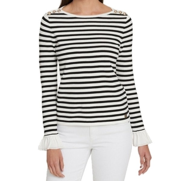 ba94661a4 Shop Tommy Hilfiger White Black Striped Ruffled XL Boat Neck Sweater - On  Sale - Free Shipping On Orders Over  45 - Overstock - 27081353