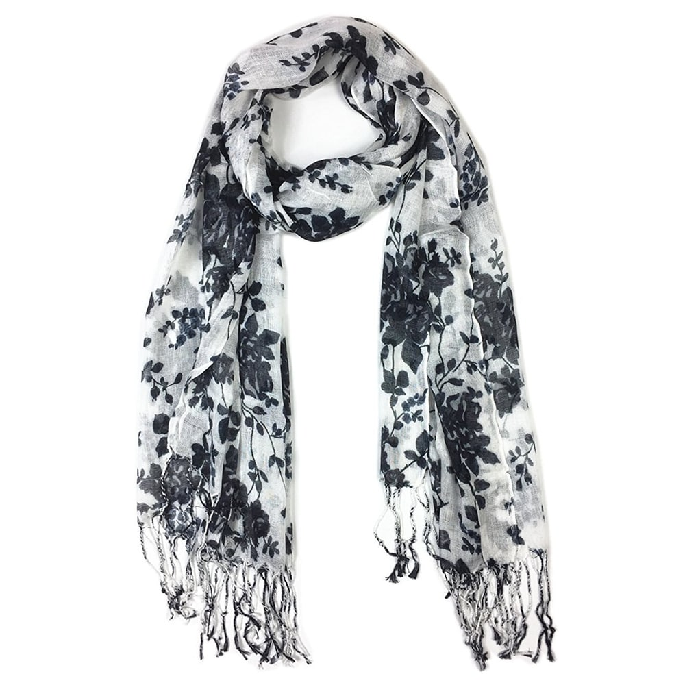Women's Fashion Floral Soft Wraps Scarves -F1 Black - Large - Thumbnail 0